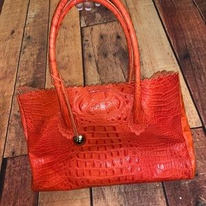 Furla Italian Crocodile Leather Tote Bag (Sz) Ex